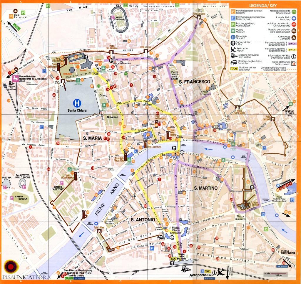 Mapa Monumentos de Pisa y Callejero