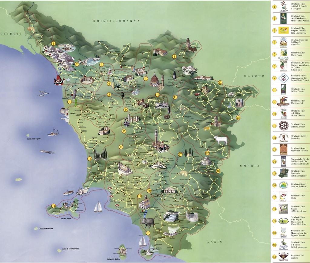 Mapa de rutas del vino de Toscana