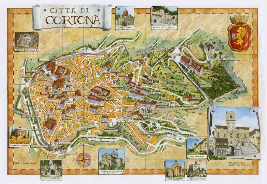 Mapa de la ciudad de Cortona.
