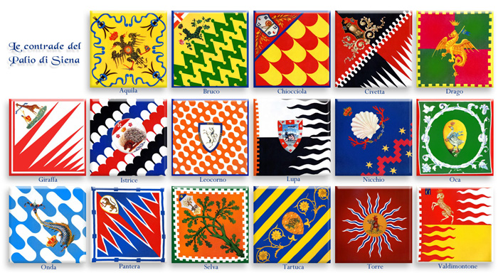 Banderas y estandartes de los 17 barrios (contrade) que participan en el Palio de Siena