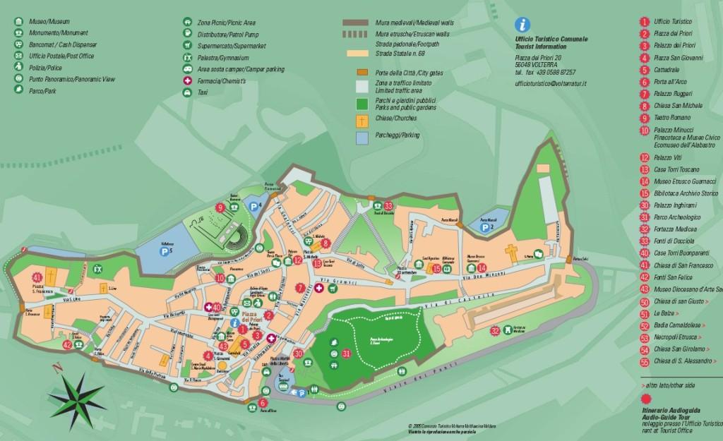 Mapa de Volterra con los monumentos