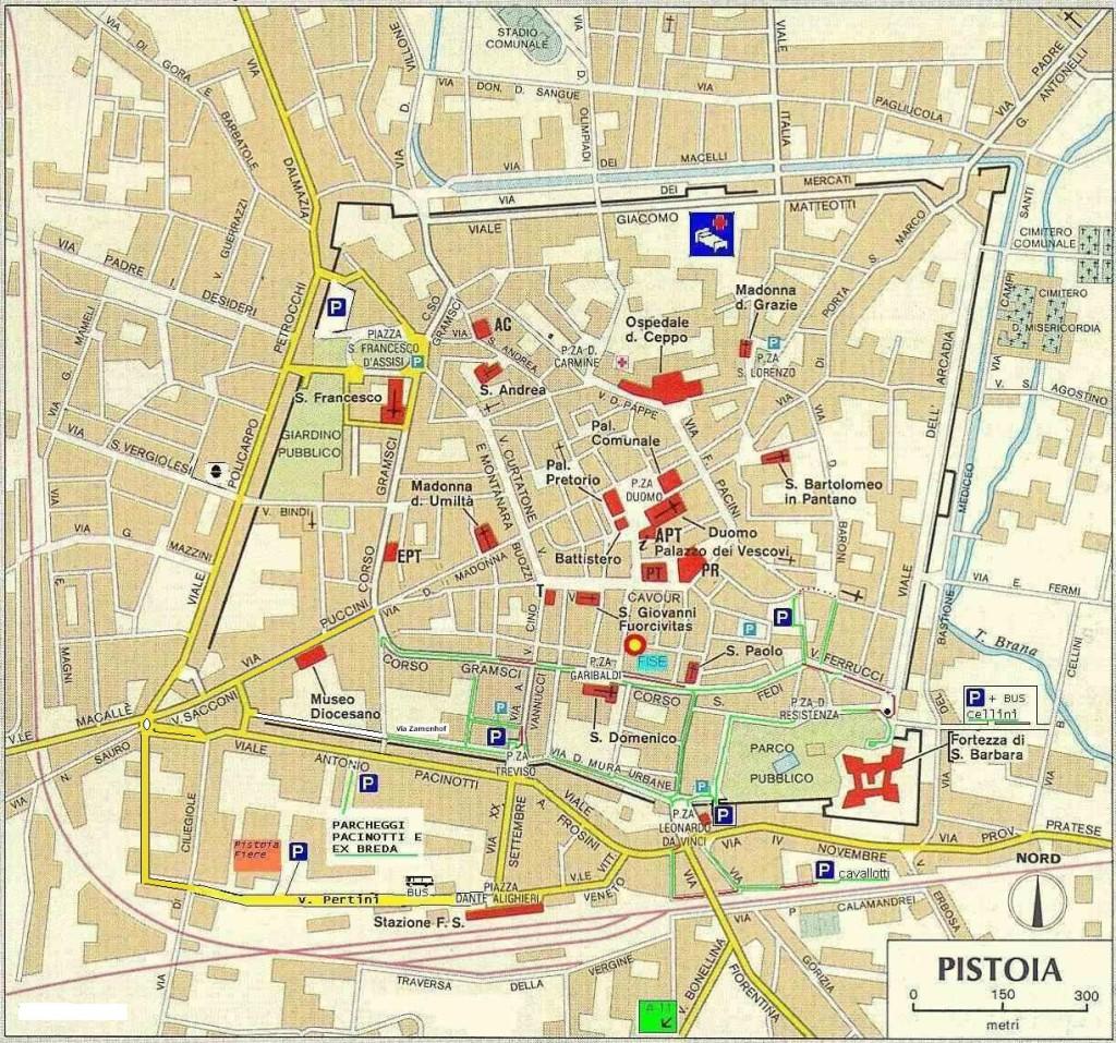 Mapa y plano de Pistoia