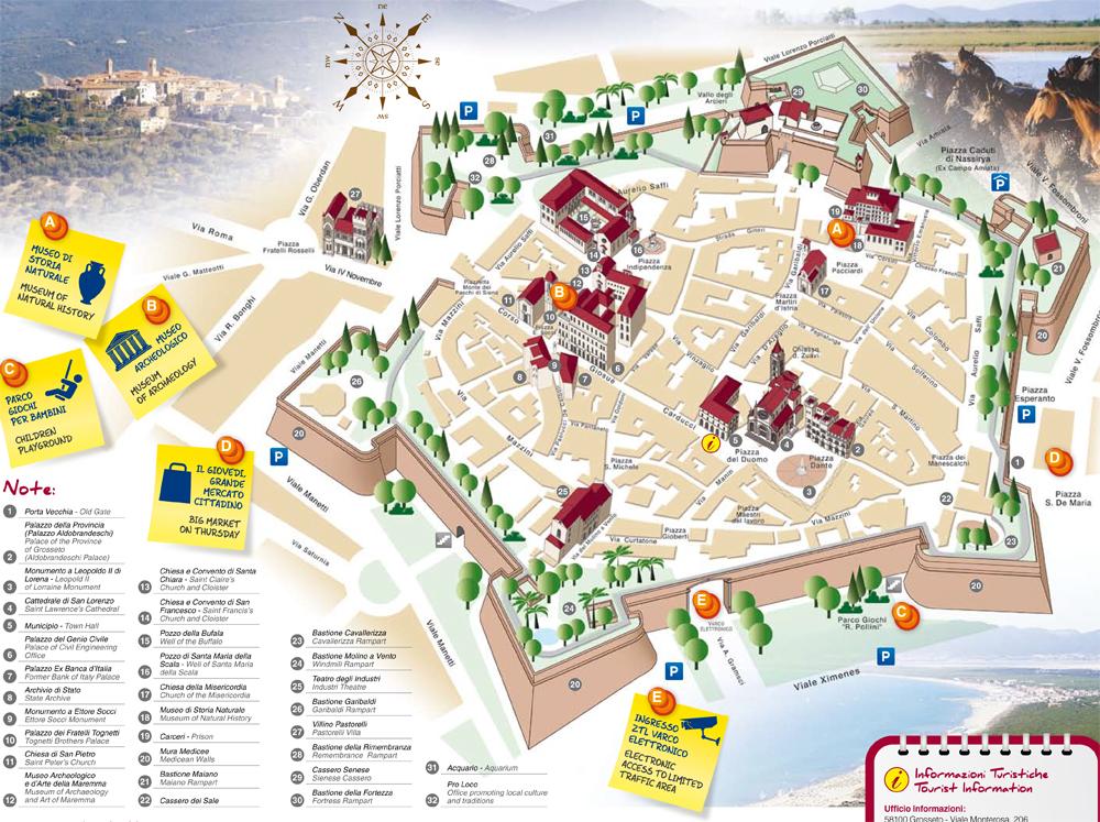 Mapa del centro de Grosseto