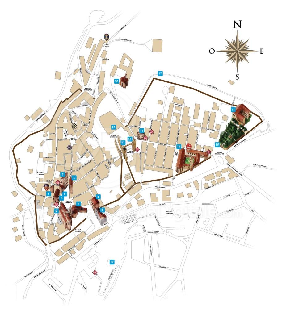 Mapa con los monumentos de Massa Marittima