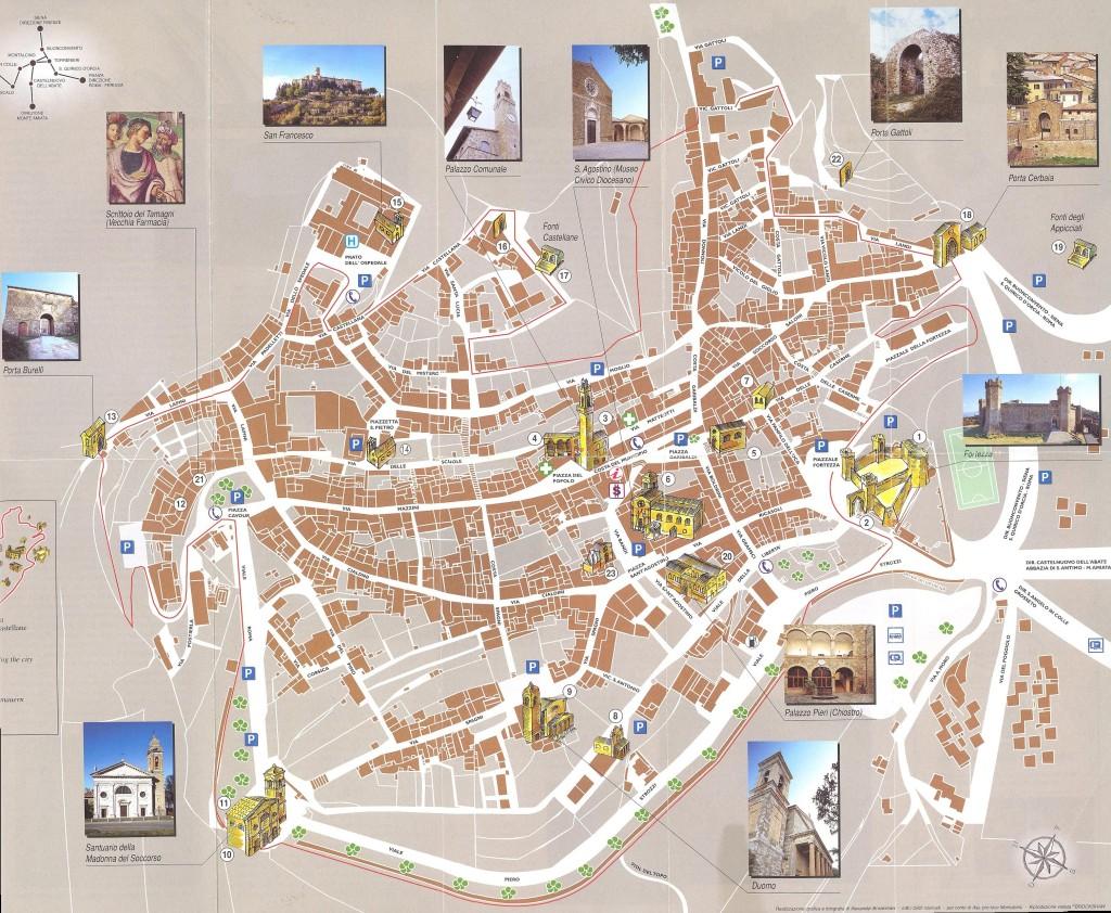 Mapa de los monumentos de Montalcino