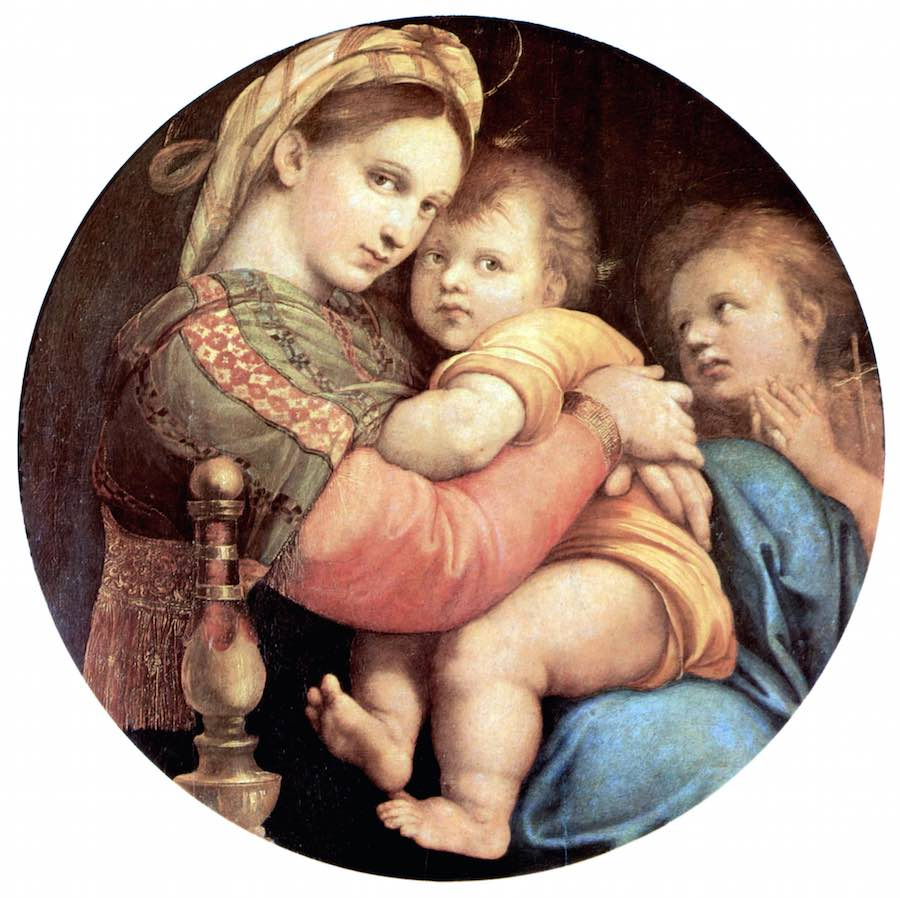 """El cuadro de Rafael """"Madonna della Seggiola"""", salle de Saturno en la Galería Palatina"""