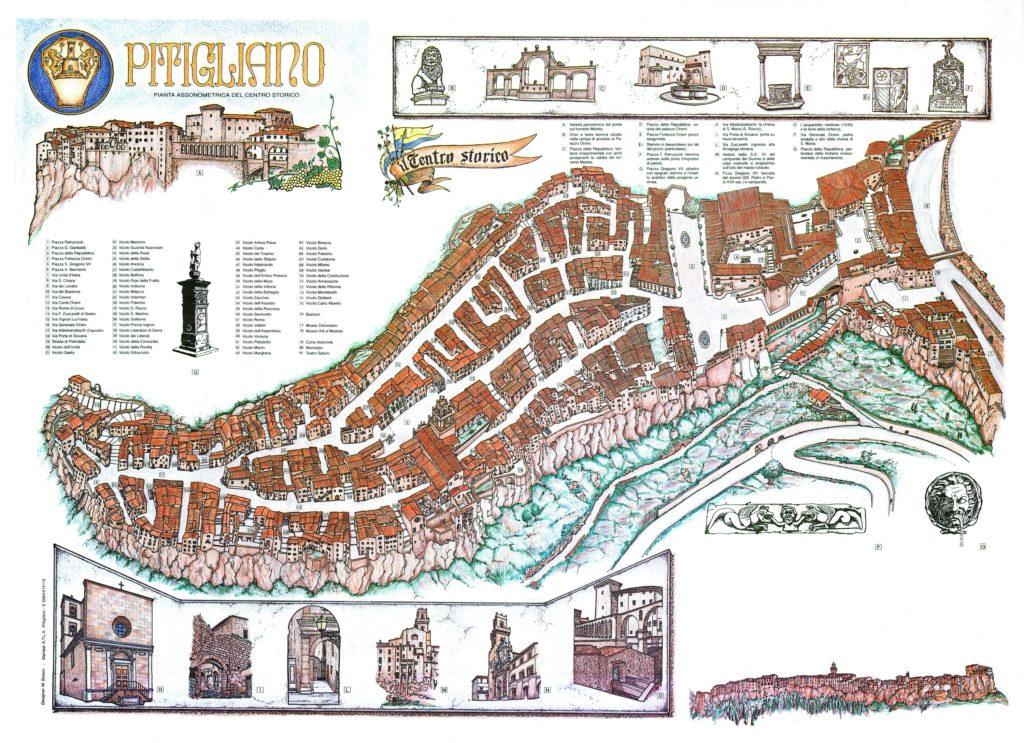 Mapa del centro histórico de Pitigliano